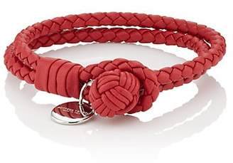 Bottega Veneta Men's Intrecciato Leather Double-Band Bracelet - Red