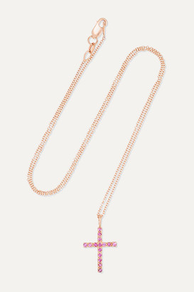 Ileana Makri - Classic Cross 18-karat Rose Gold Sapphire Necklace