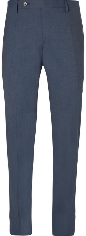 Boglioli Boglioli Blue Slim-Fit Stretch-Wool Suit Trousers