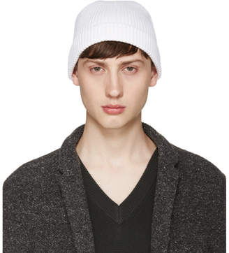 Lemaire White Ribbed Beanie