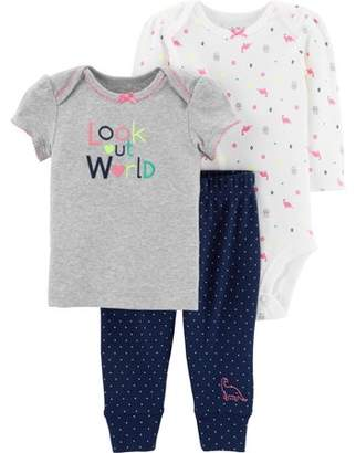 Carter's Child of Mine by Short Sleeve Bodysuit, Graphic T-Shirt & Pants, 3-Piece Outfit Set (Baby Girls)