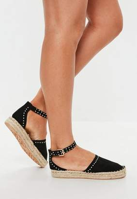 Missguided Black Studded Sole Flatform Espadrilles