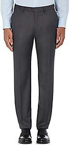 Brioni Men's Wool Flat-Front Trousers - Medium Gray