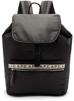 A.P.C. Logo Print Flap Top Backpack - Mens - Black