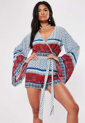 Missguided White Mixed Print Long Sleeve Wrap Romper