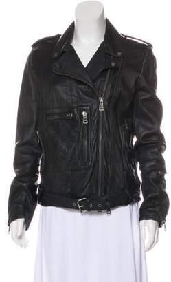 R 13 Long Sleeve Leather Jacket