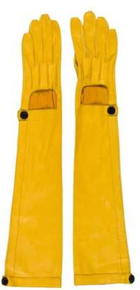 Lanvin Leather Long Gloves Yellow Leather Long Gloves