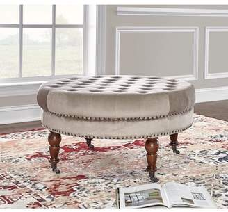 Linon Home Décor Isabelle Round Tufted Ottoman, Multiple Colors