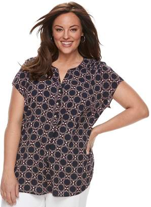 Croft & Barrow Plus Size Pleated Henley Top