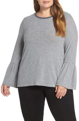 Lucky Brand Hacci Bell Sleeve Stripe Top