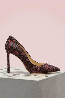 Jimmy Choo Romy 100 lace on suede pumps