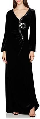 Valentino Women's Snake-Embellished Velvet Gown - Black