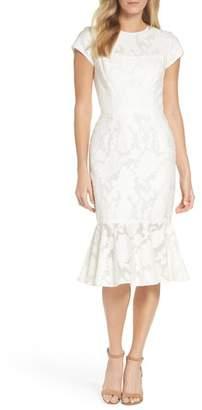 Maggy London Lace Flare Hem Midi Dress