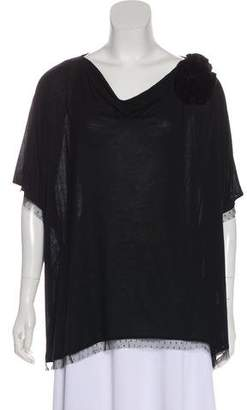 Valentino Dolman Mesh-Trimmed Top