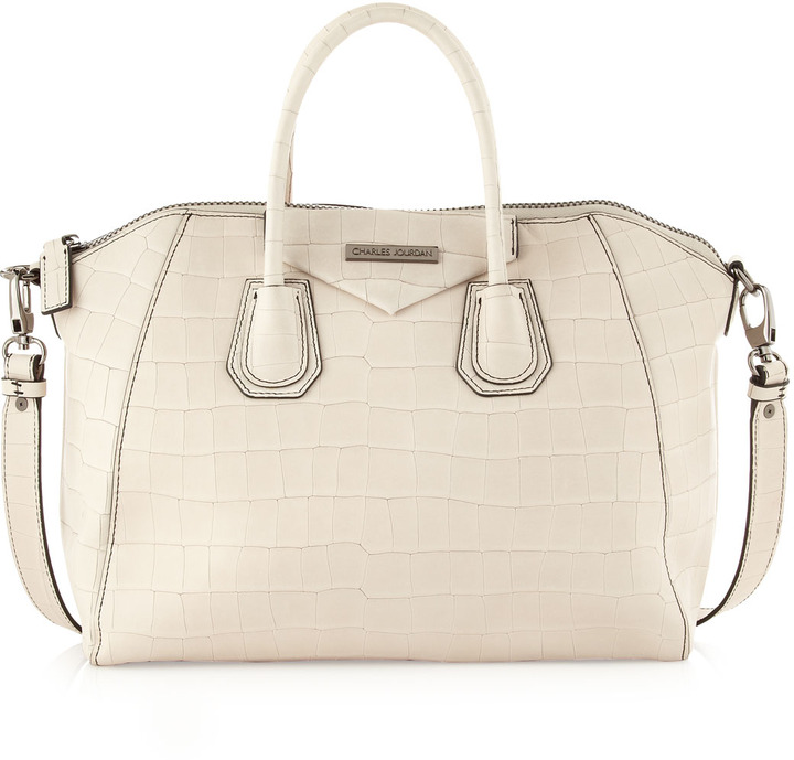 Charles Jourdan Aubrey Embossed Crocodile Tote, Bone