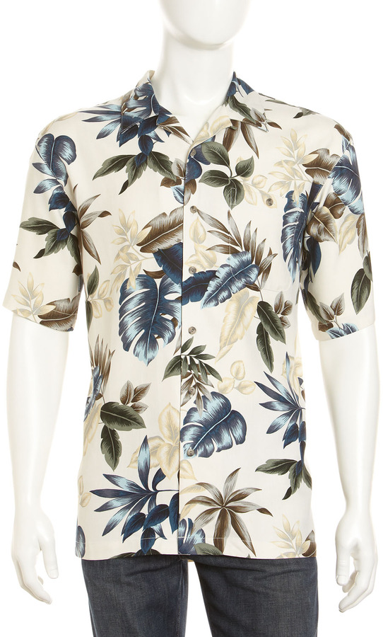 Burma Bibas Tropical Leaf-Print Silk Shirt, Natural