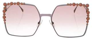 Fendi Embellished Square Sunglasses w/ Tags