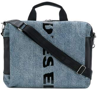 Diesel slashed logo messenger bag