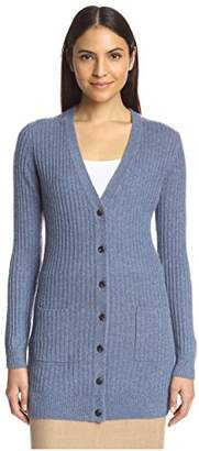 Society New York Women's Cashmere Ribbed Boyfriend Cardigan