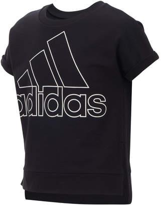 adidas Big Girls Cropped Logo-Print Sweatshirt