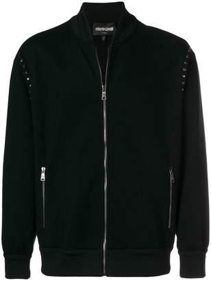 Roberto Cavalli studded logo zipped sweatshirt