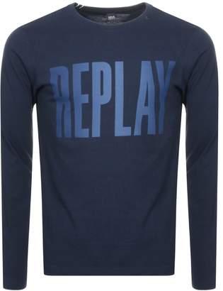 Replay Long Sleeved Logo T Shirt Navy