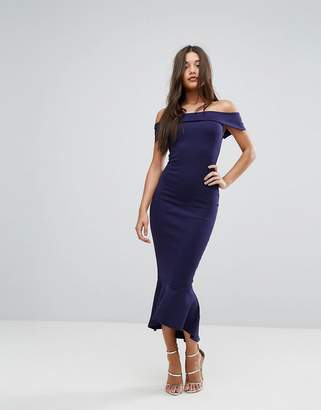 Lipsy Navy Bardot Maxi Dress