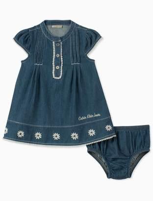 Calvin Klein baby girls floral lace denim dress + bloomers