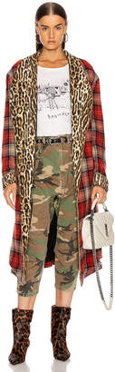 R 13 Winter Robe Jacket in Red & Grey Plaid with Leopard | FWRD