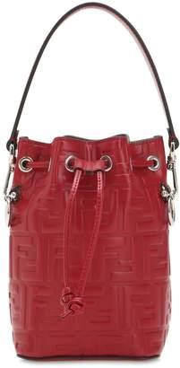 Fendi Logo Embossed Leather Shoulder Bag