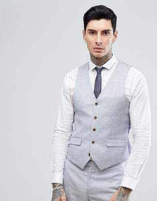 Harry Brown Stretch Linen Wedding Pale Blue Slim Fit Suit vest