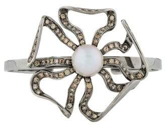 Jack Vartanian 18K Pearl & Diamond Floral Cuff
