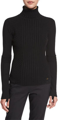Tory Burch Inez Chevron-Ribbed Turtleneck Sweater $325 thestylecure.com