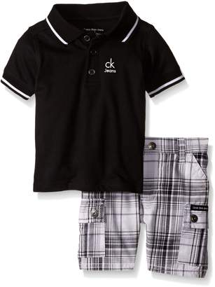 Calvin Klein Baby-Boys Jersey Polo Shirt and Yarn Dyed Plaid Shorts
