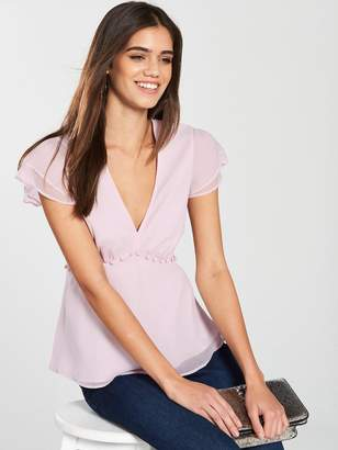 Very Tiered V Neck Top - Blush