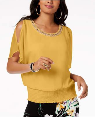 Thalia Sodi Embellished Strappy V-Back Top, Created for Macy's