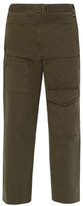 J.W.Anderson Fold Front Cotton Twill Cargo Trousers - Mens - Khaki