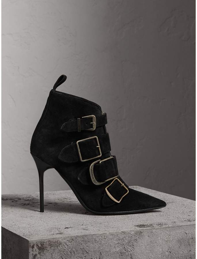 Burberry Buckle Detail Suede Ankle Boots