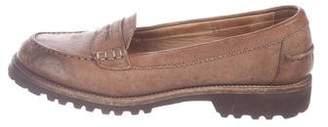 Brunello Cucinelli Leather Round-Toe Loafers