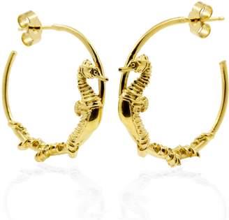 """Lee Renee Seahorse Hoop Earrings """" Gold"""