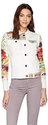 Desigual Women's la for You Embroidered Detail Denim Jacket Nature