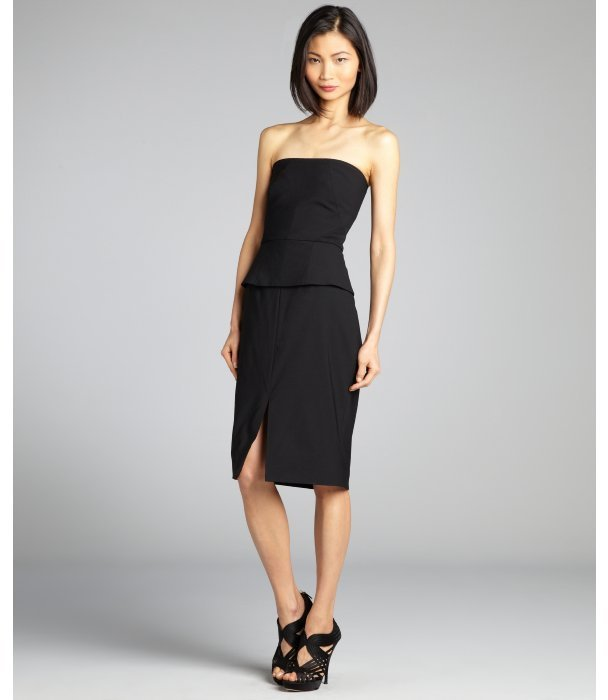 Rachel Roy black sheer mesh back peplum strapless corset dress