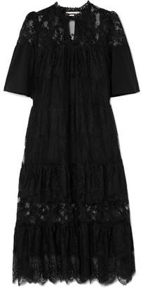 McQ Cotton-trimmed Tiered Lace Dress - Black