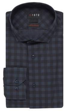 Slim-Fit Large Check Dress Shirt