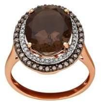 Lord & Taylor Diamond, Smokey Quartz & 14K Rose-Gold Ring