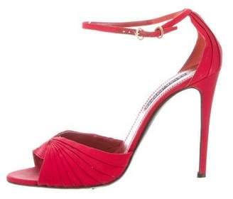 Ralph Lauren Pleated Ankle-Strap Sandals
