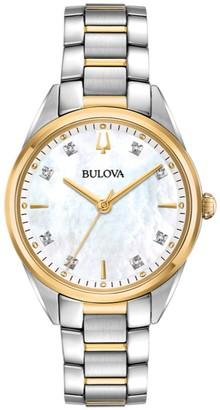 Bulova Women's Two-Tone Diamond Accent BraceletWatch