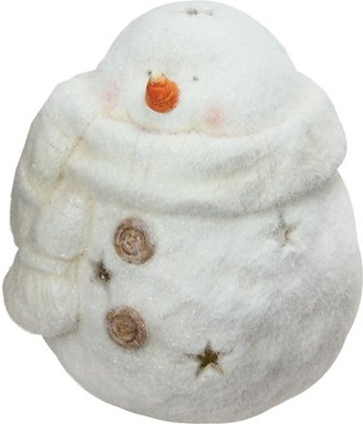 """Northlight 10.75"""" Decorative White Tealight Snowman With Star Cut-Outs Christmas Candle Holder"""