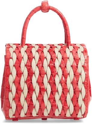 Nancy Gonzalez Genuine Crocodile & Canvas Weave Basket Bag
