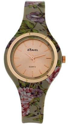 Ravel Ladies Girls Rose Goldtone Dial Floral Silicone Strap Watch R1801.23F